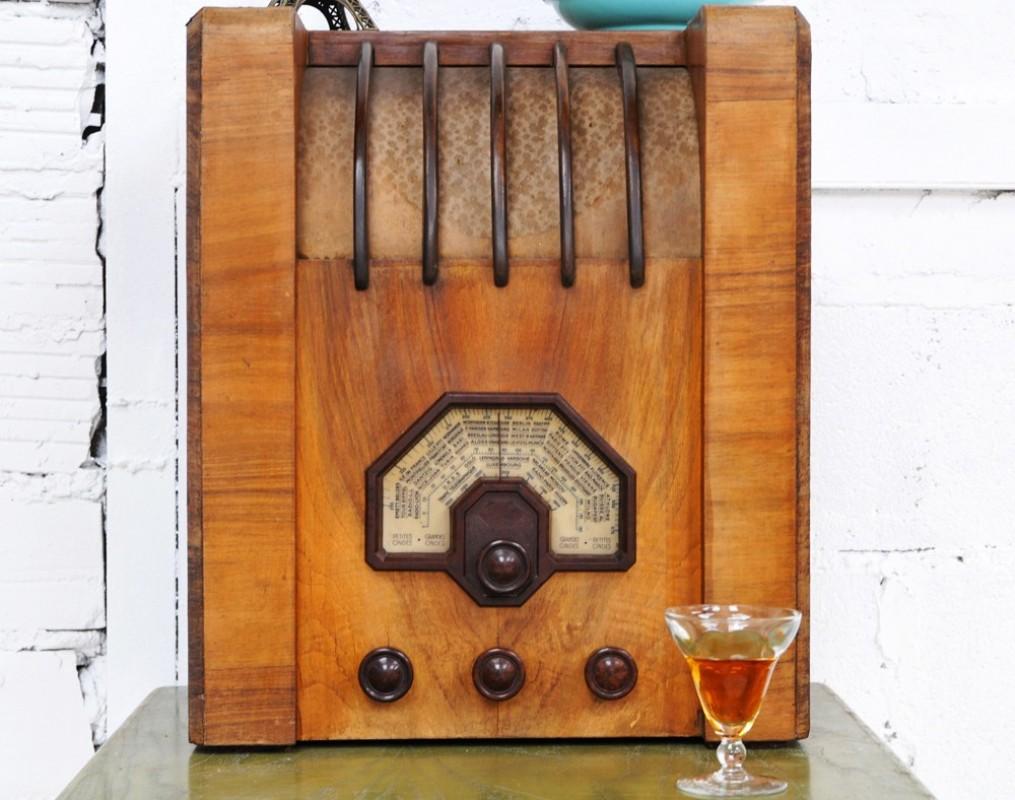poste de radio tsf vintage 1930 objet unique ancien. Black Bedroom Furniture Sets. Home Design Ideas