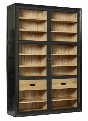 Large cabinet Jenny with glass doors and drawers black