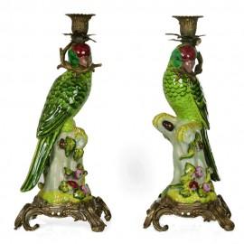 Candleholder Green Parrots