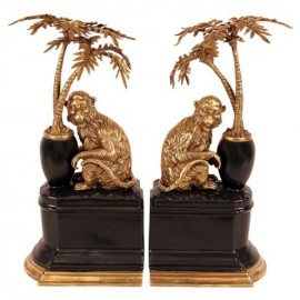 Serre-livres singes en bronze