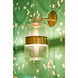 Glass and Brass Wall Light
