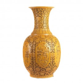 Long Sculpted Yellow Chinese Vase