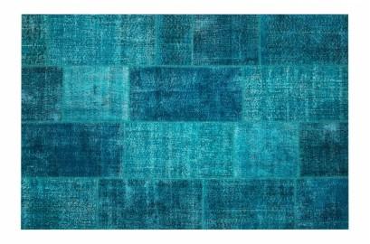 Vintage Patchwork Blue Rug, Turkey