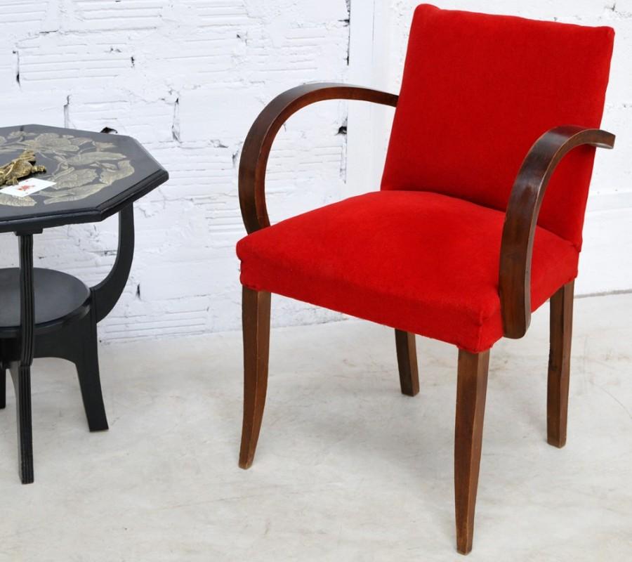 fauteuil bridge vintage, piece unique ancienne, années 40, 50