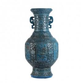 Vase Qianlong Sculpté Main Bleu Turquoise