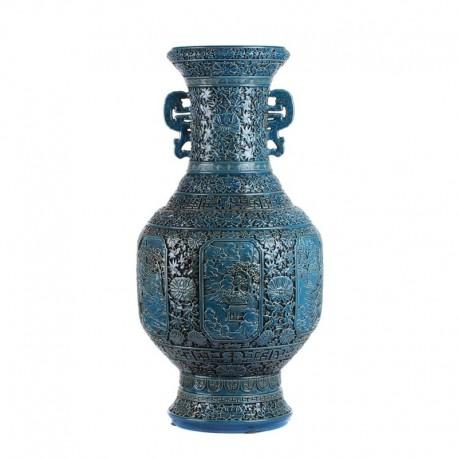 Vase chinois sculpté main bleu turquoise