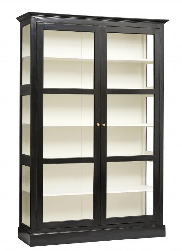 grande biblioth que vitrine maggie de 212cm de hauteur r alis e en bois d 39 orme noir. Black Bedroom Furniture Sets. Home Design Ideas
