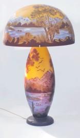 Lampe Art Nouveau Paysage Bleu