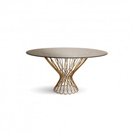 La Table De Repas Ronde Serena Plateau Rond En Verre Trempe De 152cm Couleur Bronze