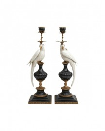Parrot Candle holders, White