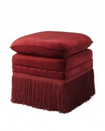 Ottoman in red velvet Rosamund