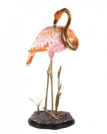 Flamant Rose Porcelaine et laiton, H81 cm