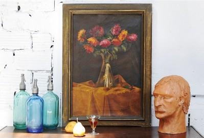 """""""Les Dahlias"""", 1940 Oil painting"""
