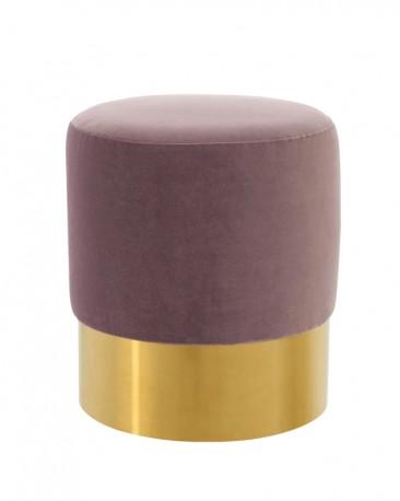 Lilac Velvet Round Stool and stainless steel shiny golden finish base