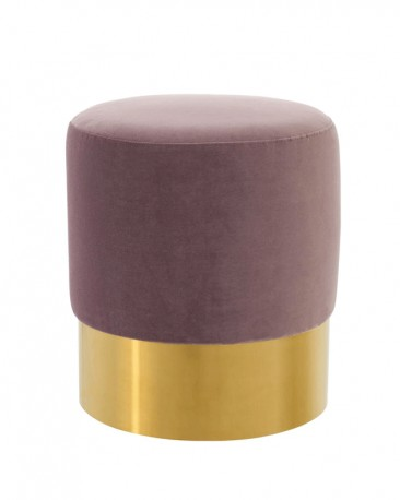 Tabouret Rond Velours Lilas