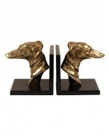 Serre-livres Têtes de Lévriers en bronze
