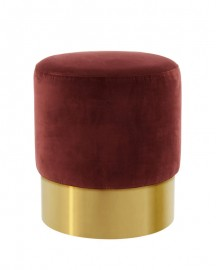 Tabouret Rond Velours Cherry