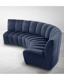 Canapé Velours Bleu Nuit Ondine L363 cm