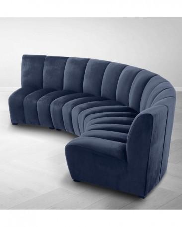 Canape Ondine En Velours Bleu Nuit Dans Le Plus Pur Style 70s Mesure 363 Cm De Long Sur 150 Cm De Profondeur
