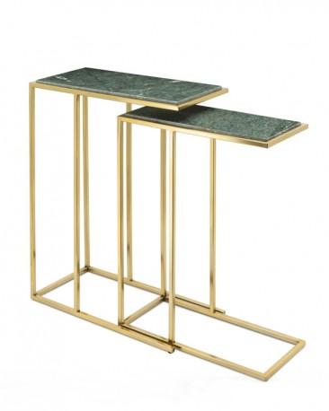 Set de 2 Tables d'Appoint - Pierre Verte Naturelle