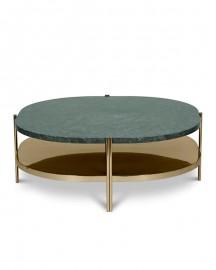 Table Basse Marbre Vert et Laiton Silvana - Sur Commande
