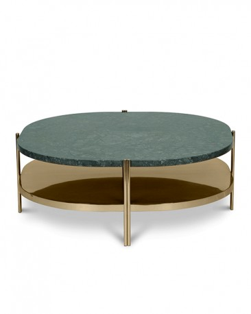 The Silvana Coffee Table Strong Retro Presence Style Boasting A Green Marble Top And Stainless Steel Feet