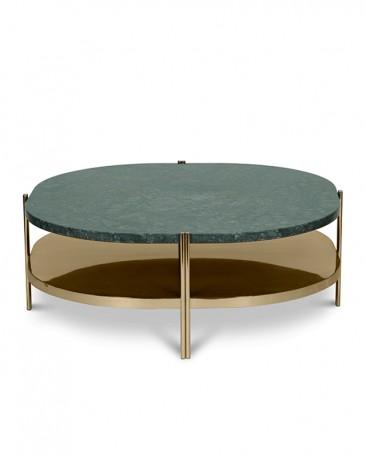 Table Basse Marbre Vert.La Table Basse Silvana Affiche Un Style Retro Puissant Avec Son Plateau En Marbre Vert Et Sa Structure En Acier