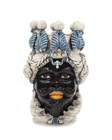 Vase en Céramique, Buste Maure - Bleu