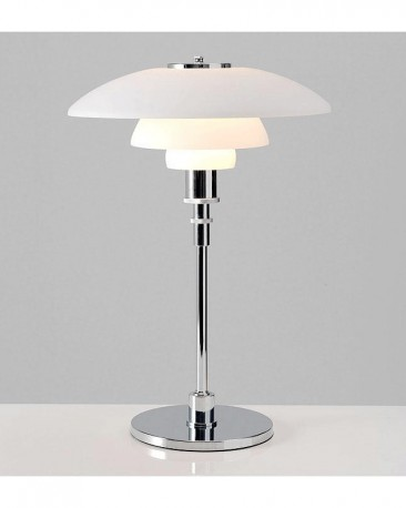 Art Decotable Lamp With Steel Foot And White Glass Shade