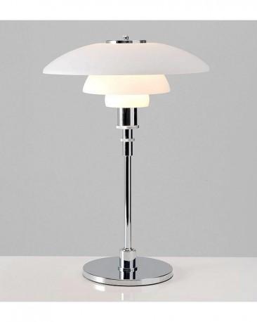 Lampe de table Acier et Verre Blanc H65cm