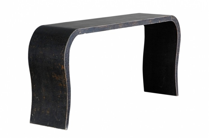 Vintage Stylized Console Table Lacquered Wood Recycled Old Black Patina