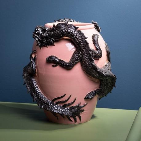 Vase Rose aux Dragons