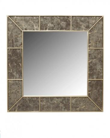 Miroir HQ Peint et Laqué Façon Marbre 112x112 cm