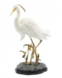 Handmade Sculpture of Heron in Porcelain