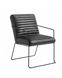 Leather and Metal Armchair Marty