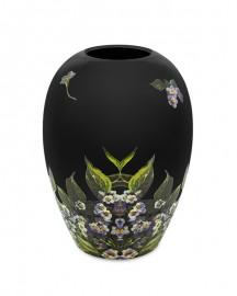 Vase Noir Motifs Floraux Symétrie