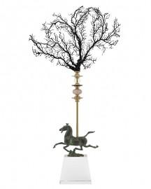 Figurine Obelisque Cheval et Corail Noir