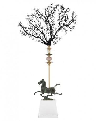 Figurine Horse and Coral Black Obelisque