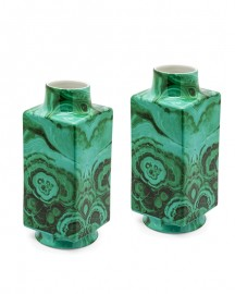 Paire de Vases Malachite Peints Main H 34 cm