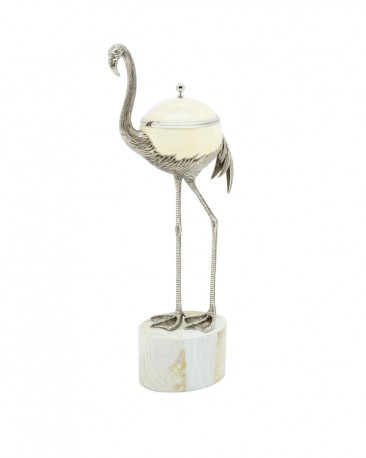 Ostrich Egg Box and Silver Flamingo