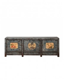 Antique Chinese Swallow Blue Color Sideboard