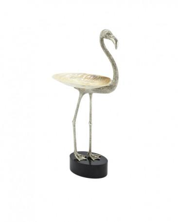 Coupe Flamingo Argent et Nacre H56 cm