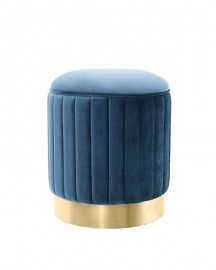 Swallow Blue Velvet Round Stool