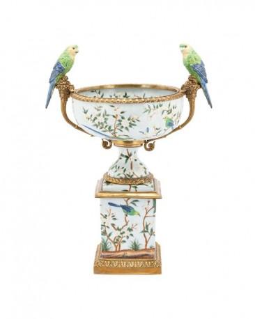 Grande Coupe Perruches en Porcelaine et Bronze
