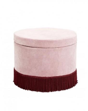 Ottoman in Pink Velvet Litchi