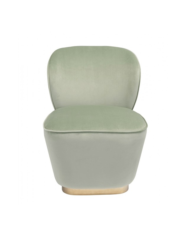 The Louison armchair in cotton velvet, lime green color ...
