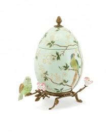 Boîte Oeuf Porcelaine Emaillée et Bronze - H 32 cm