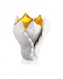 Bougeoir Tulipe Céramique et Feuille d'Or - H 27 cm
