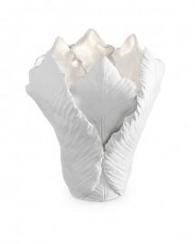 Bougeoir Tulipe Céramique et Feuille d'Or et d'Argent - H 27 cm