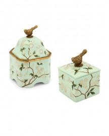 Boîtes Oiseau Porcelaine Emaillée et Bronze H22 et 13 cm